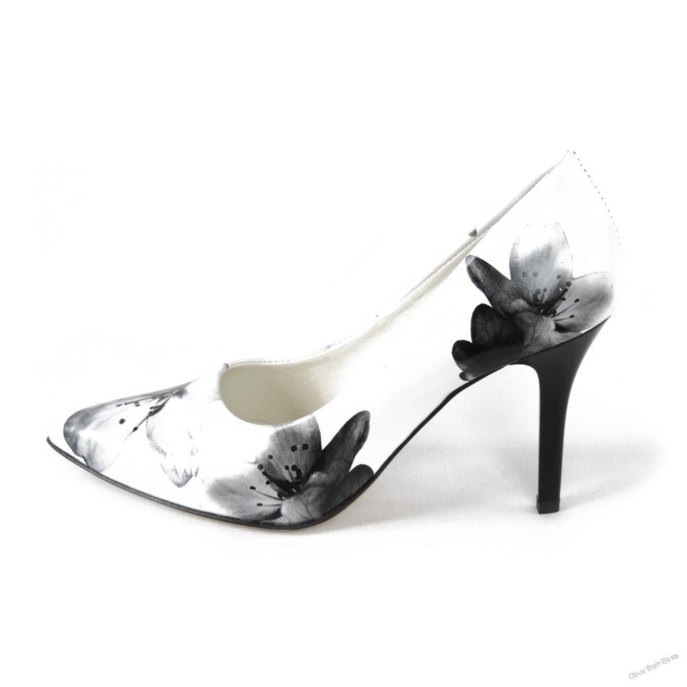 77ef49b8f0ac Čierno-biele dámske kožené lodičky