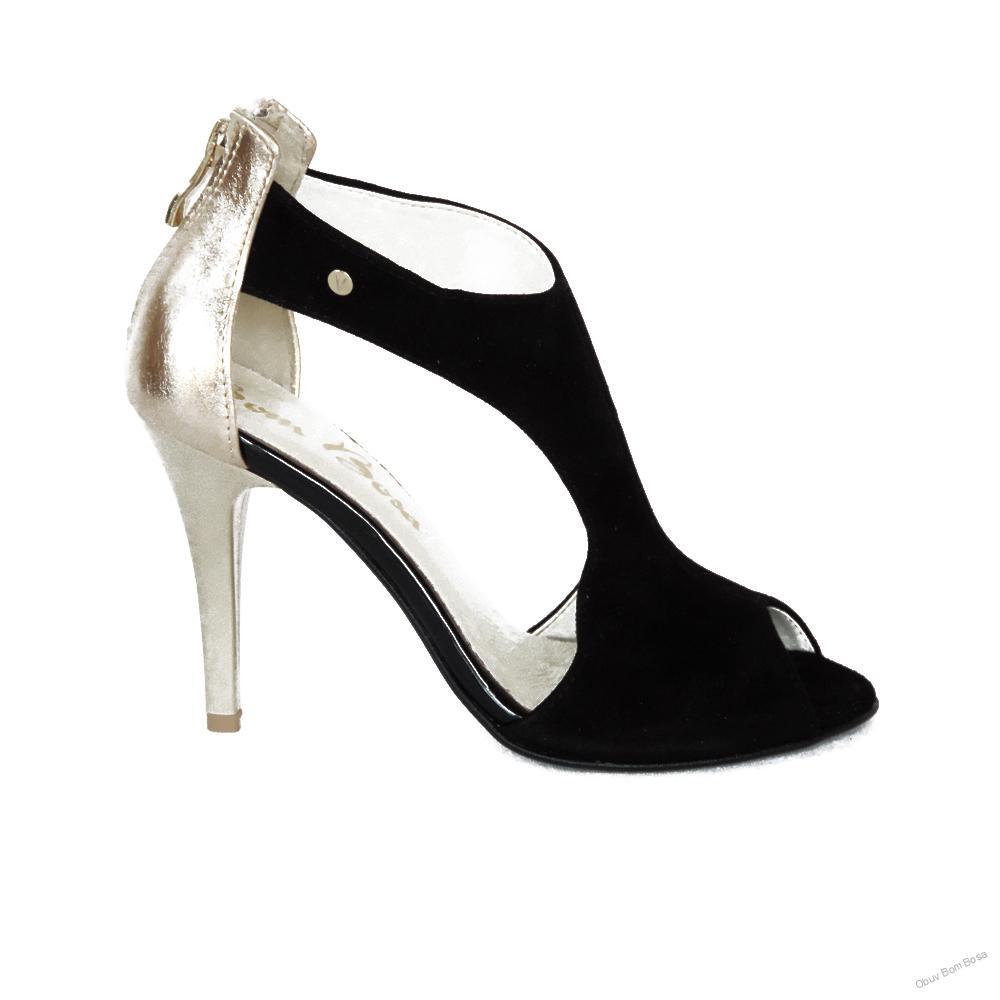 bc018931c5813 Čierno-zlaté dámske kožené sandále
